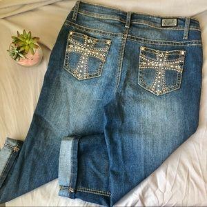 Earl Jeans Pants - Earl Jeans Rhinestone Embellished Denim Capris 8